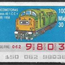 Billets ONCE: ONCE,LOCOMOTORAS,30/05/1990.. Lote 195905025