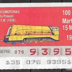 Billets ONCE: ONCE,LOCOMOTORAS,15/05/1990.. Lote 195979590