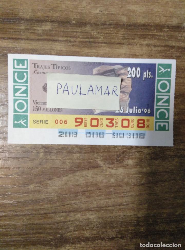 MFF.- CUPON DE LA O.N.C.E. VIERNES.- TRAJES TIPICOS. CUENCA.- 26-7-1996.- Nº 90308.- (Coleccionismo - Lotería - Cupones ONCE)