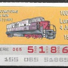 Billets ONCE: ONCE,LOCOMOTORAS,04/06/1990.. Lote 198057855