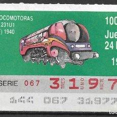 Billets ONCE: ONCE,LOCOMOTORAS,24/05/1990.. Lote 198058040