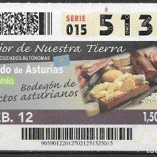Billets ONCE: ONCE,LO MEJOR DE NUESTRA TIERRA,27/02/2012.. Lote 199395053