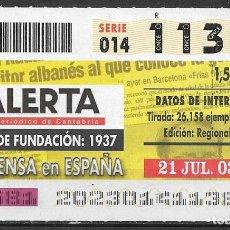 Bilhetes ONCE: ONCE,LA PRENSA EN ESPAÑA,21/07/2003.. Lote 199400212