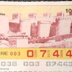 Billets ONCE: ESPAÑA. ONCE. 1989. ÁVILA. MURALLAS. FECHA: 7 FEBRERO.. Lote 199575190