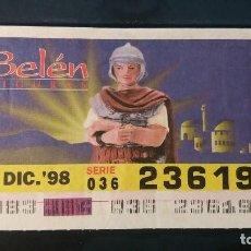 Cupones ONCE: C. ONCE. FIGURAS DE BELEN. 30 DICIEMBRE DE 1998. Nº 23619. Lote 199578651