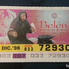 Cupones ONCE: C. ONCE. FIGURAS DE BELEN. 23 DICIEMBRE DE 1998. Nº 72930.. Lote 199580122