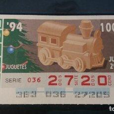 Cupones ONCE: CUPON ONCE. JUGUETES. 29 DE DICIEMBRE 1994. Nº 27205.. Lote 199583546