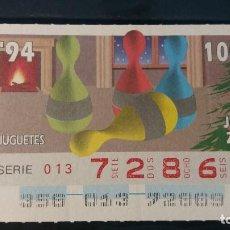 Cupones ONCE: CUPON ONCE. JUGUETES. 22 DE DICIEMBRE 1994. Nº 72869. Lote 199585030