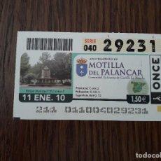 Billets ONCE: CUPÓN DE LA ONCE DE AYUNTAMIENTOS DE ESPAÑA, MOTILLA DEL PALANCAR, CUENCA 11-01-10. Lote 200075155
