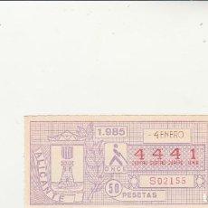 Billets ONCE: CUPON DE LA ONCE 4 ENERO 1985 NUMERO 4441. Lote 201600633