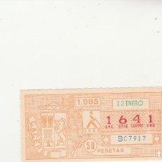 Billets ONCE: CUPON DE LA ONCE 12 ENERO 1985. Lote 217422186