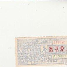 Billets ONCE: CUPON DE LA ONCE 21 ENERO 1985 . Lote 201667497