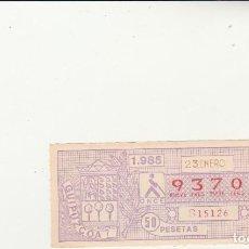 Billets ONCE: CUPON DE LA ONCE 23 ENERO 1985. Lote 217421985