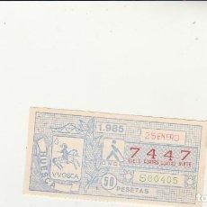 Billets ONCE: CUPON DE LA ONCE 25 ENERO 1985 NUMERO CAPICUA 7447. Lote 201669017