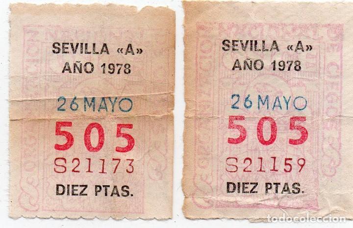 """CUPÓN ONCE,2 CUPONES DE SEVILLA """"A"""" MUY DIFÍCILES,1978 (Coleccionismo - Lotería - Cupones ONCE)"""
