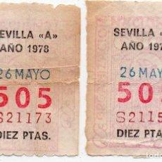 """Cupones ONCE: CUPÓN ONCE,2 CUPONES DE SEVILLA """"A"""" MUY DIFÍCILES,1978. Lote 204127201"""