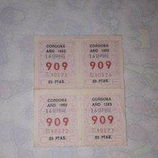 Cupones ONCE: CUPON CUPONES ANTIGUOS ONCE CORDOBA AÑO 1983. Lote 205273867