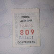 Cupones ONCE: CUPON ONCE ANTIGUO JEREZ 1969. Lote 205274117
