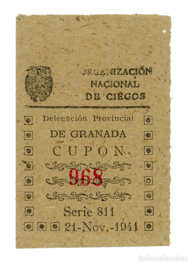 CUPÓN ONCE 1941 MODELO ESCASO GRANADA NUM. 968 (Coleccionismo - Lotería - Cupones ONCE)