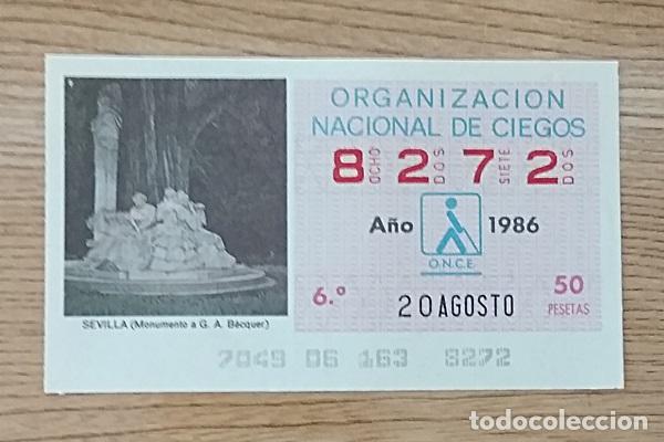 8272 CUPÓN DE LA ONCE DEL DÍA 20 DE AGOSTO DE 1986 VIÑETA MONUMENTO A BÉCQUER SEVILLA ESPAÑA (Coleccionismo - Lotería - Cupones ONCE)