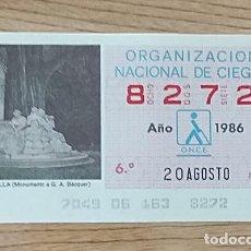 Cupones ONCE: 8272 CUPÓN DE LA ONCE DEL DÍA 20 DE AGOSTO DE 1986 VIÑETA MONUMENTO A BÉCQUER SEVILLA ESPAÑA. Lote 205588545