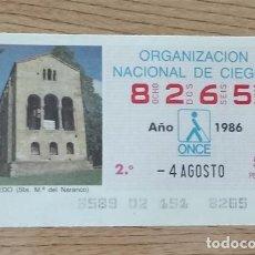 Cupones ONCE: 8265 CUPÓN DE LA ONCE DEL DÍA 4 DE AGOSTO DE 1986 VIÑETA SANTA MARÍA DEL NARANCO OVIEDO ESPAÑA. Lote 205589495