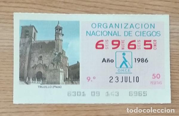 6965 CUPÓN DE LA ONCE DEL DÍA 23 DE JULIO DE 1986 VIÑETA PLAZA MAYOR TRUJILLO CÁCERES ESPAÑA (Coleccionismo - Lotería - Cupones ONCE)