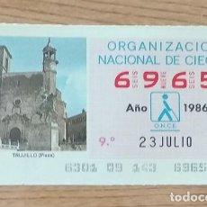 Cupones ONCE: 6965 CUPÓN DE LA ONCE DEL DÍA 23 DE JULIO DE 1986 VIÑETA PLAZA MAYOR TRUJILLO CÁCERES ESPAÑA. Lote 205590355