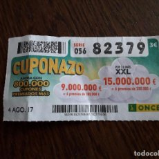 Cupones ONCE: CUPÓN ONCE 04-08-17 CUPONAZO.. Lote 205601537
