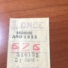 Cupones ONCE: LOTERIA CUPON ONCE 1955 BADAJOZ. Lote 205850005