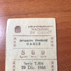 Cupones ONCE: LOTERIA CUPON ONCE 1946 CADIZ. Lote 205850532