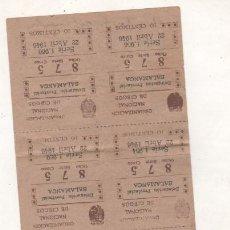 Cupones ONCE: SALAMANCA. ORGANIZACIÓN NACIONAL DE CIEGOS. CUPONES ABRIL DE 1946. Lote 206266325