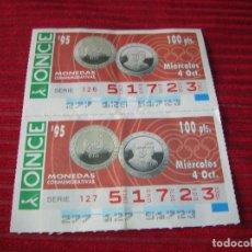 Cupones ONCE: DOS CUPONES IGUALES DE 100 PESETAS CADA CUPÓN. Lote 206572296