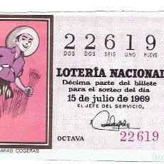 Cupones ONCE: LOTERIA NACIONAL, SORTEO Nº 20 DEL AÑO 1967. Lote 207118160