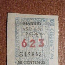 Cupones ONCE: CUPÓN ONCE - ORGANIZACIÓN NACIONAL DE CIEGOS TRES 3 CIFRAS - 623 - 9-SEPTIEMBRE-1957 - MADRID. Lote 207136927