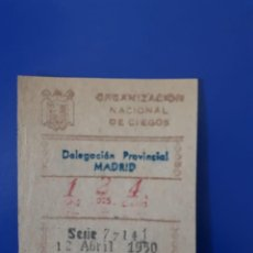 Cupones ONCE: LOTERIA CUPON 12 ABRIL 1950. Lote 207156573
