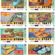 Cupones ONCE: 8 CUPONES DE LA ONCE - AÑO 1999 - 18 19, 25, 26, 27,28 DE OCTUBRE Y 3 Y 4 DE NOVIEMBRE - CALZADO -. Lote 207288411