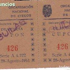 Cupones ONCE: CIEGOS. BARCELONA. CUPON DE 1941. SORTEO 18 DE AGOSTO DE 1941. Lote 207290411