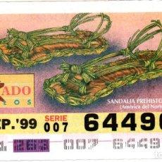 Cupones ONCE: CUPONES DE LA ONCE - AÑO 1999 - 20 DE SEPTIEMBRE - ESTILO DE CALZADO: SANDALIA PREHISTÓRICA -. Lote 207290673