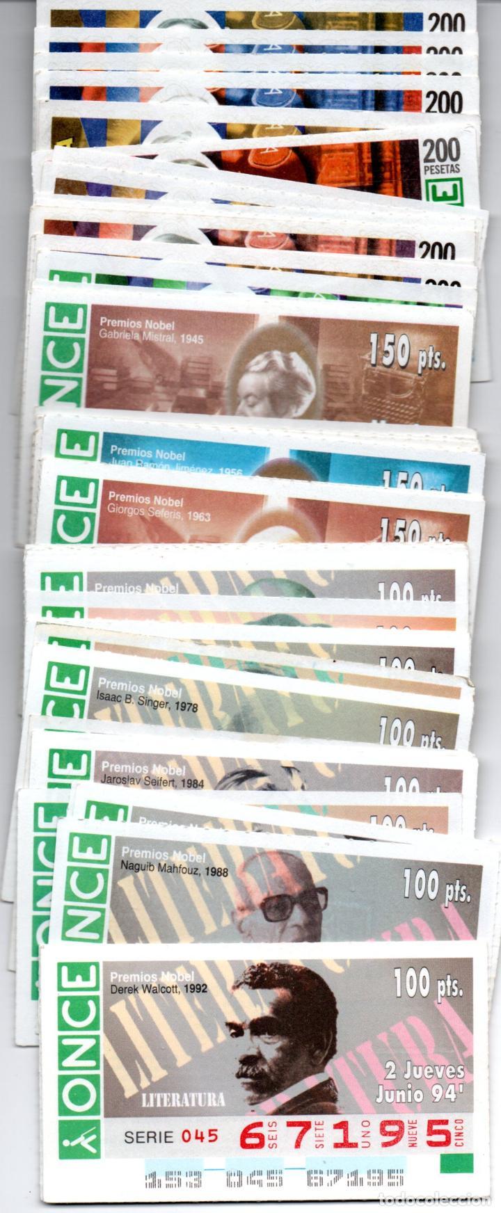 68 CUPONES DE LA ONCE DE PREMIOS NOBEL DE LITERATURA - AÑOS 1994, 1995, 1996, 1997 Y 1998 - (Coleccionismo - Lotería - Cupones ONCE)