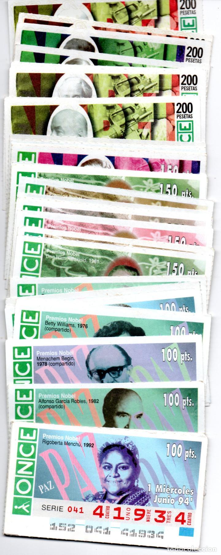56 CUPONES DE LA ONCE DE PREMIOS NOBEL DE LA PAZ - AÑOS 1994, 1995, 1996, 1997 Y 1998 - (Coleccionismo - Lotería - Cupones ONCE)