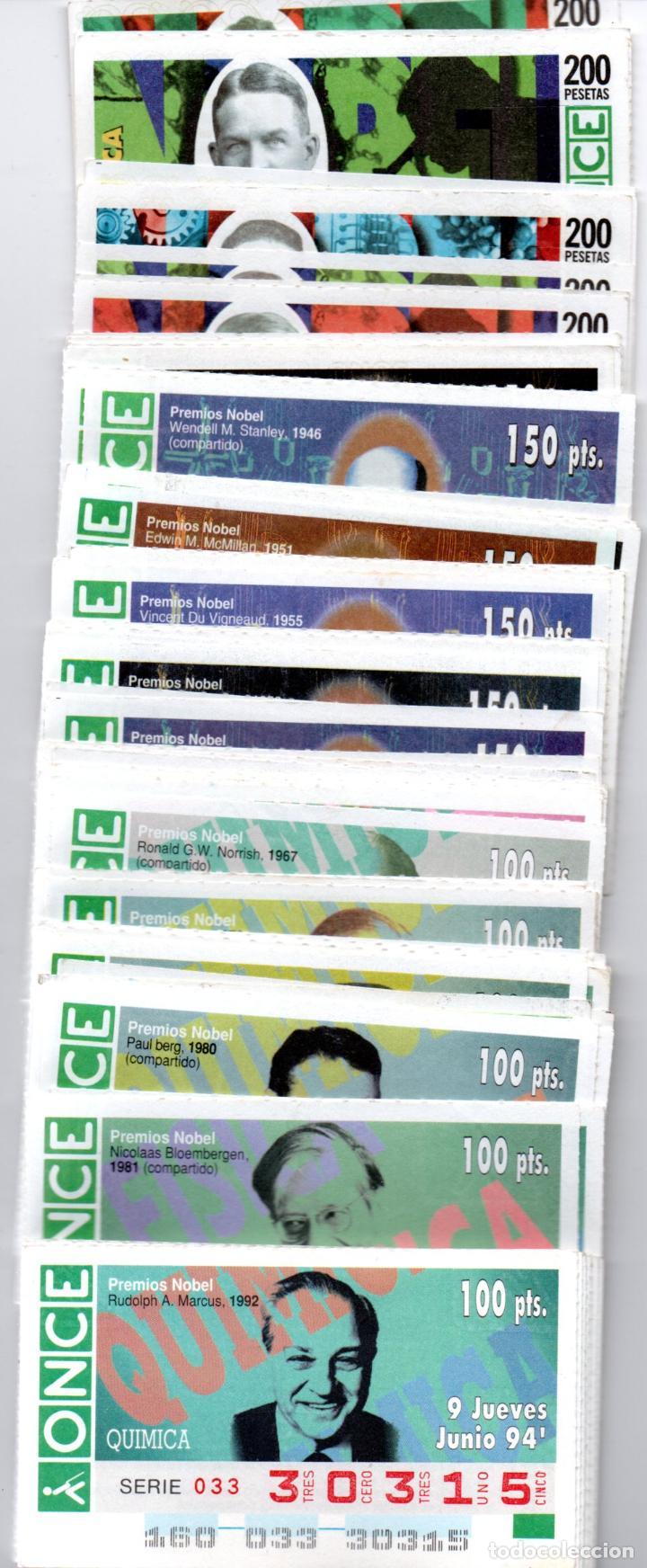 95 CUPONES DE LA ONCE DE PREMIOS NOBEL DE QUÍMICA - AÑOS 1994, 1995, 1996, 1997 Y 1998 - (Coleccionismo - Lotería - Cupones ONCE)