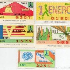 Cupones ONCE: CUPÓN ONCE, LOS 5 DIFICILES DEL AÑO 1986, TAMBIÉN SE VENDEN SUELTOS,. Lote 208359873