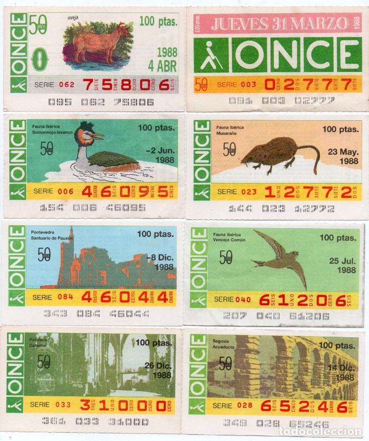 CUPON ONCE, LOS 8 CUPONES MAS DIFICILES DEL AÑO 1988,TAMBIÉN SE VENDEN SUELTOS (Coleccionismo - Lotería - Cupones ONCE)