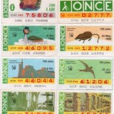 Cupones ONCE: CUPON ONCE, LOS 8 CUPONES MAS DIFICILES DEL AÑO 1988,TAMBIÉN SE VENDEN SUELTOS. Lote 208394192
