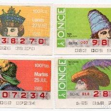 Cupones ONCE: CUPON ONCE, LOS 4 CUPONES DIFÍCILES DEL AÑO 1989,TANBIEN SE VENDEN SUELTOS. Lote 208395493