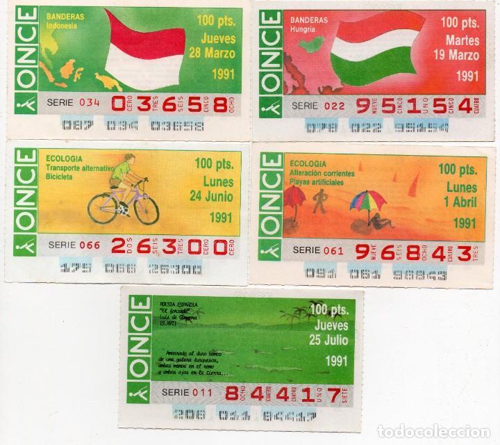 CUPON ONCE,LOS 5 CUPONES DIFICILES DEL AÑO 1991, TANBIEN SE VENDEN SUELTOS (Coleccionismo - Lotería - Cupones ONCE)