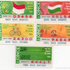 Cupones ONCE: CUPON ONCE,LOS 5 CUPONES DIFICILES DEL AÑO 1991, TANBIEN SE VENDEN SUELTOS. Lote 208397506