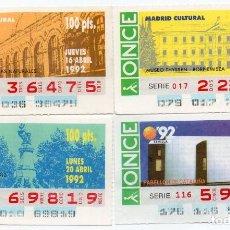 Cupones ONCE: CUPON ONCE, LOS 4 CUPONES DIFÍCILES DEL AÑO 1992, TAMBIÉN SE VENDEN SUELTOS. Lote 208399867