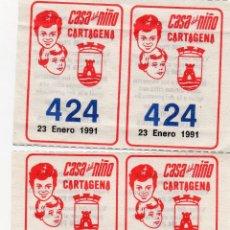 Cupones ONCE: CUPÓN 4 CUPONES 1991 DE LA CASA DEL NIÑO DE CARTAGENA, FUNDADA EN EL 1916,. Lote 209012453